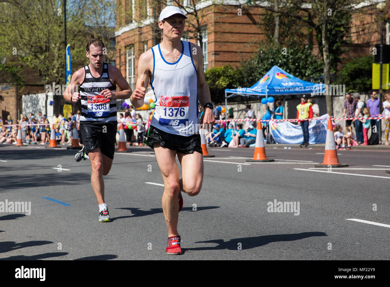 London, UK. 22nd April, 2018. Charles Harpur of Mid Essex Casuals competes in the 2018 Virgin Money London Marathon. The 38th edition of the race was the hottest on record with a temperature of 24.1C recorded in St James's Park. - Stock Image
