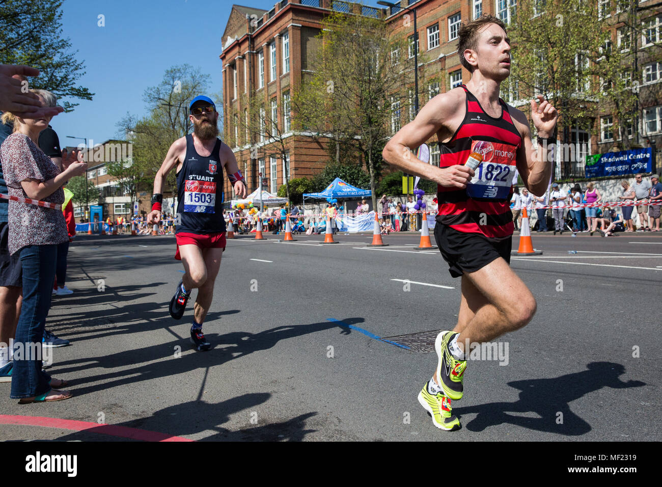 London, UK. 22nd April, 2018. Matthew Robertson of Herne Hill Harriers competes in the 2018 Virgin Money London Marathon. The 38th edition of the race was the hottest on record with a temperature of 24.1C recorded in St James's Park. - Stock Image