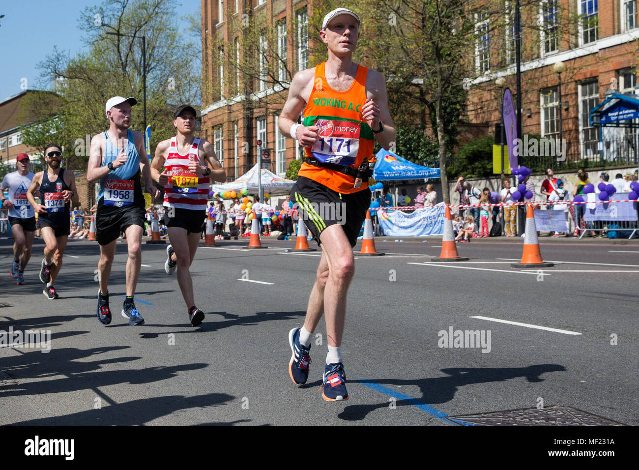 London, UK. 22nd April, 2018. Simon Egan of Woking AC competes in the 2018 Virgin Money London Marathon. The 38th edition of the race was the hottest on record with a temperature of 24.1C recorded in St James's Park. - Stock Image
