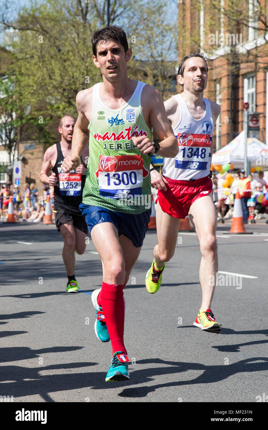 London, UK. 22nd April, 2018. Antonio Martin Romero of East London Runners competes in the 2018 Virgin Money London Marathon. - Stock Image