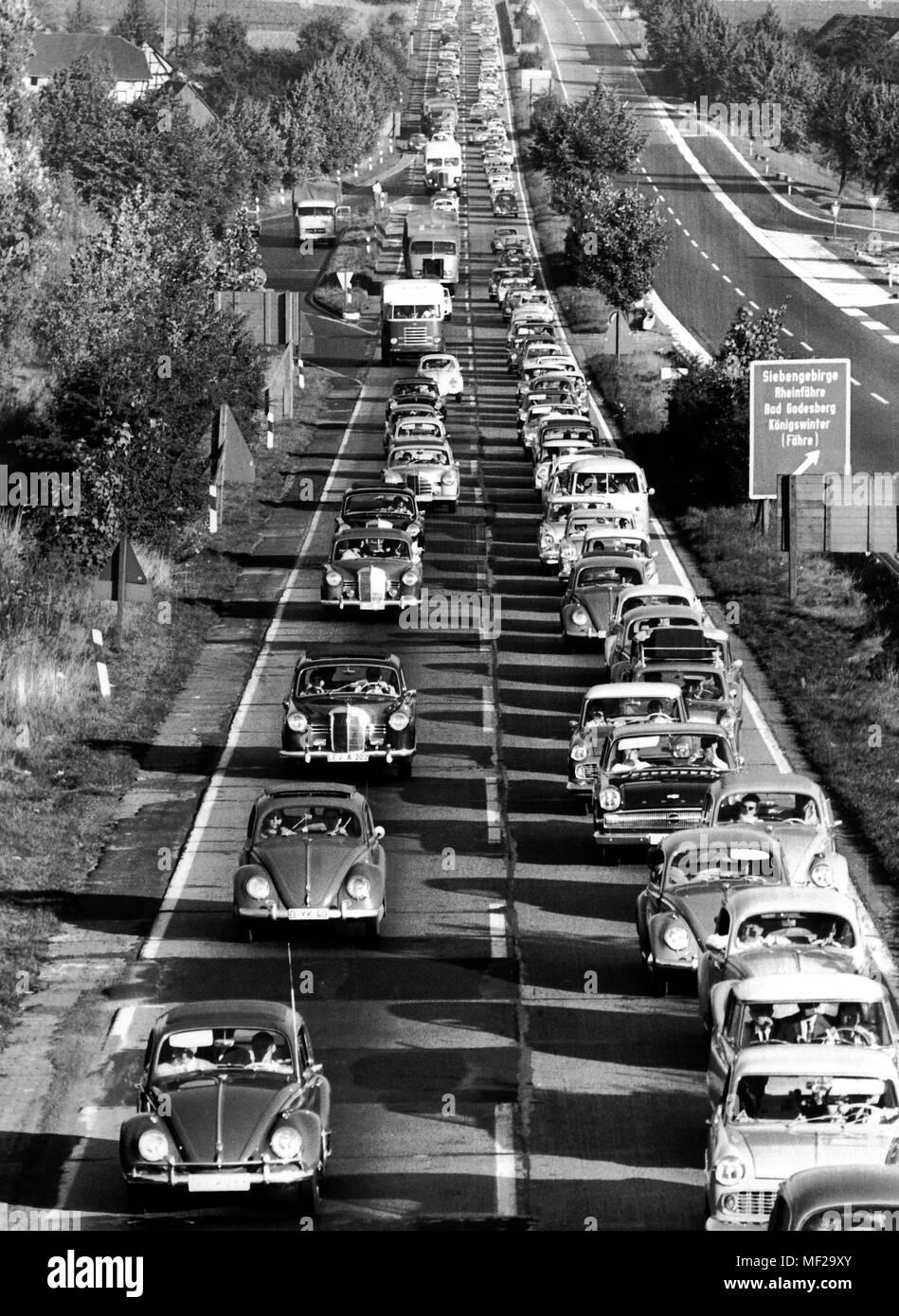 Traffic jam of the motorway between Koln and Frankfurt, taken in 1965.   usage worldwide - Stock Image