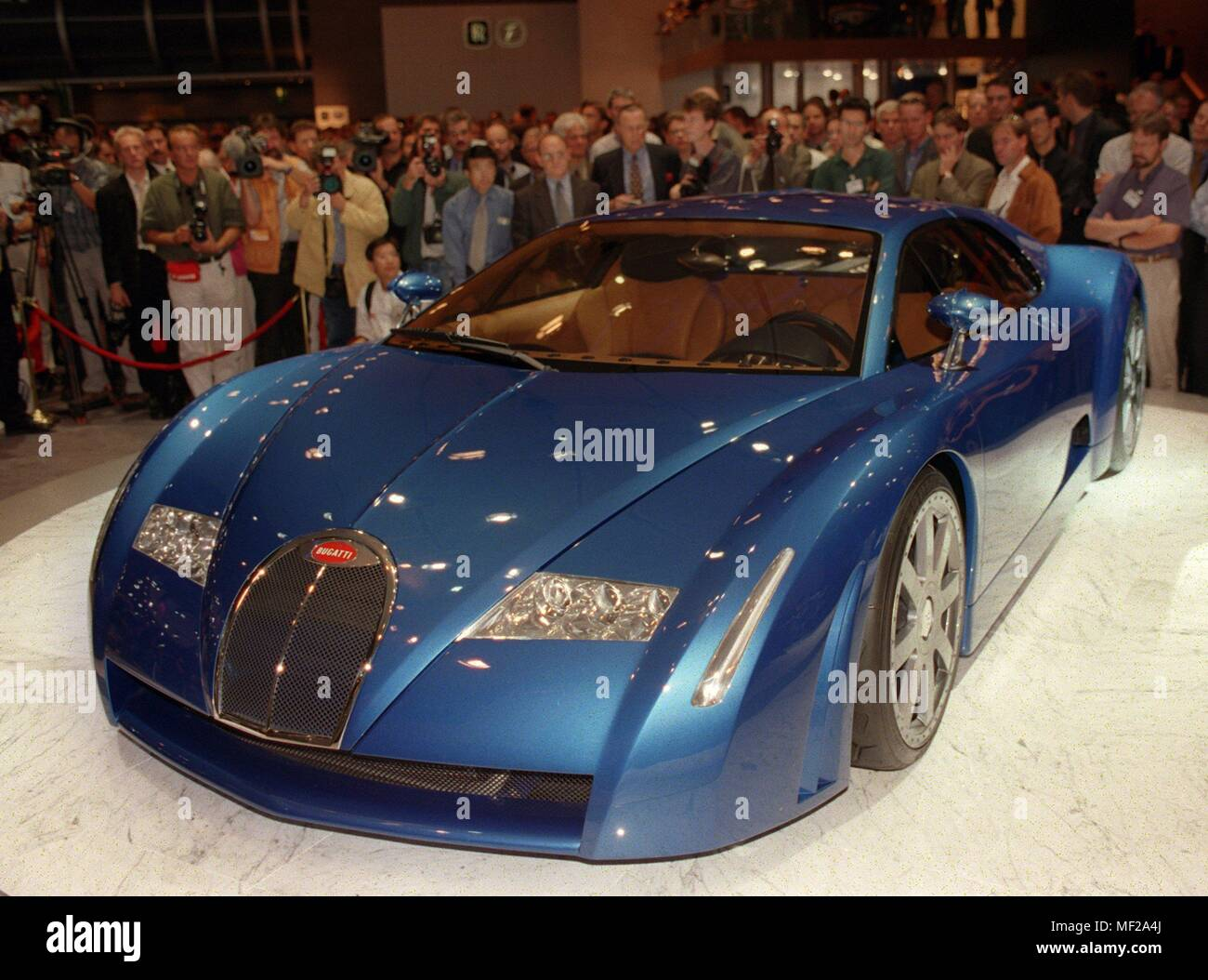 A Bugatti sports car will be presented by Volkswagen at the International Motor Show (IAA) in Frankfurt on September 14, 1999. Bugatti 18/3 Chiron is the 4.42-meter-long sports car study of VW Group subsidiary with an eighteen-cylinder engine in the rear and a carbon fiber body. Even before the official start on 16.9. opened the 58th International Motor Show on 14.9. the expected 10000 media representatives their halls. Around 1,200 suppliers from 43 countries present their products - around 80 fewer than at the IAA in 1997. | usage worldwide - Stock Image