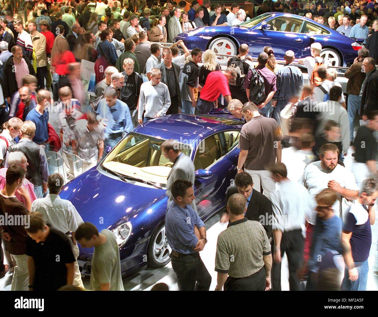 On 18.9.1999 visitors came to the Porsche booth at the International Motor Show (IAA) in Frankfurt on the first day of the public day. Two days after the official launch, the IAA is now open to the general public. The world's most important car show is expected to attract nearly 900,000 visitors to the fairgrounds by 26 September. | usage worldwide - Stock Image