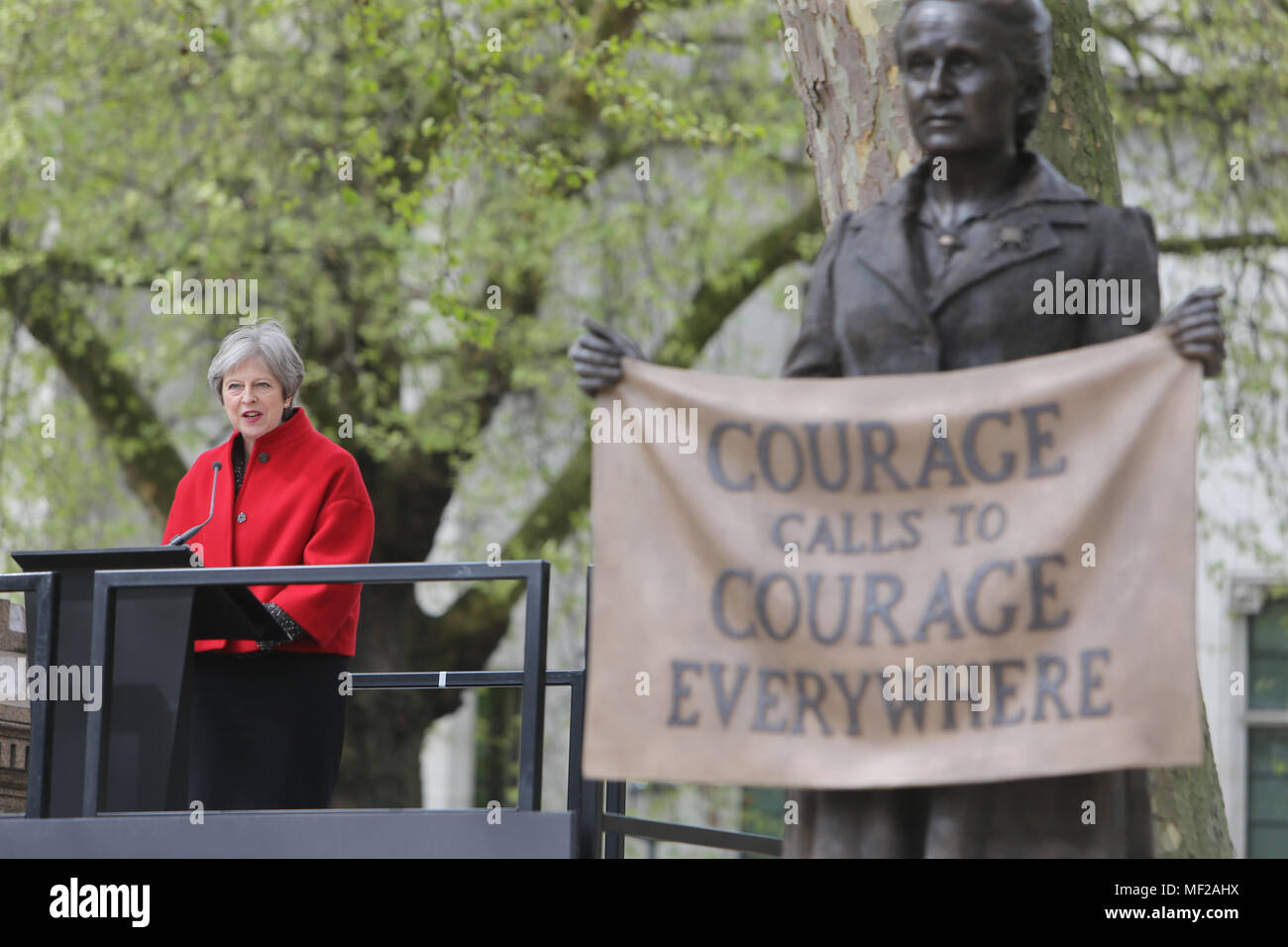 London, UK. London 24 April 2018 With the prime minister,members of the cabinet and ministers the Mayor of London  Caroline Criado-Perez, among very tight security ,westminster bridge and whitehall were close to to trafficThe historic unveiling of one of the most significant statues of our time took place in Parliament square the suffragist who battled to get the women right to vote Millicent Fawcett  is the first ever statue of a woman in Parliament Square, and the first ever statue there to be created by a woman artist, Gillian Wearing OBE@Paul Quezada-Neiman/Alamy Live News - Stock Image
