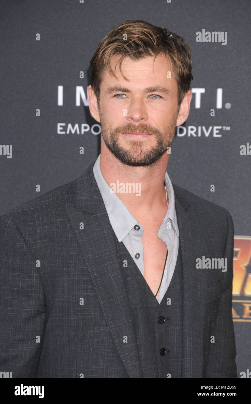 Los Angeles, California, USA. 23rd Apr, 2018. April 23rd 2018 - Los Angeles, California USA - Actor CHRIS HEMSWORTH at the World Premiere of Marvel Studios ''Avengers Infinity War'' held at the El Capitan Theater, Hollywood, Los Angeles. Credit: Paul Fenton/ZUMA Wire/Alamy Live News Stock Photo