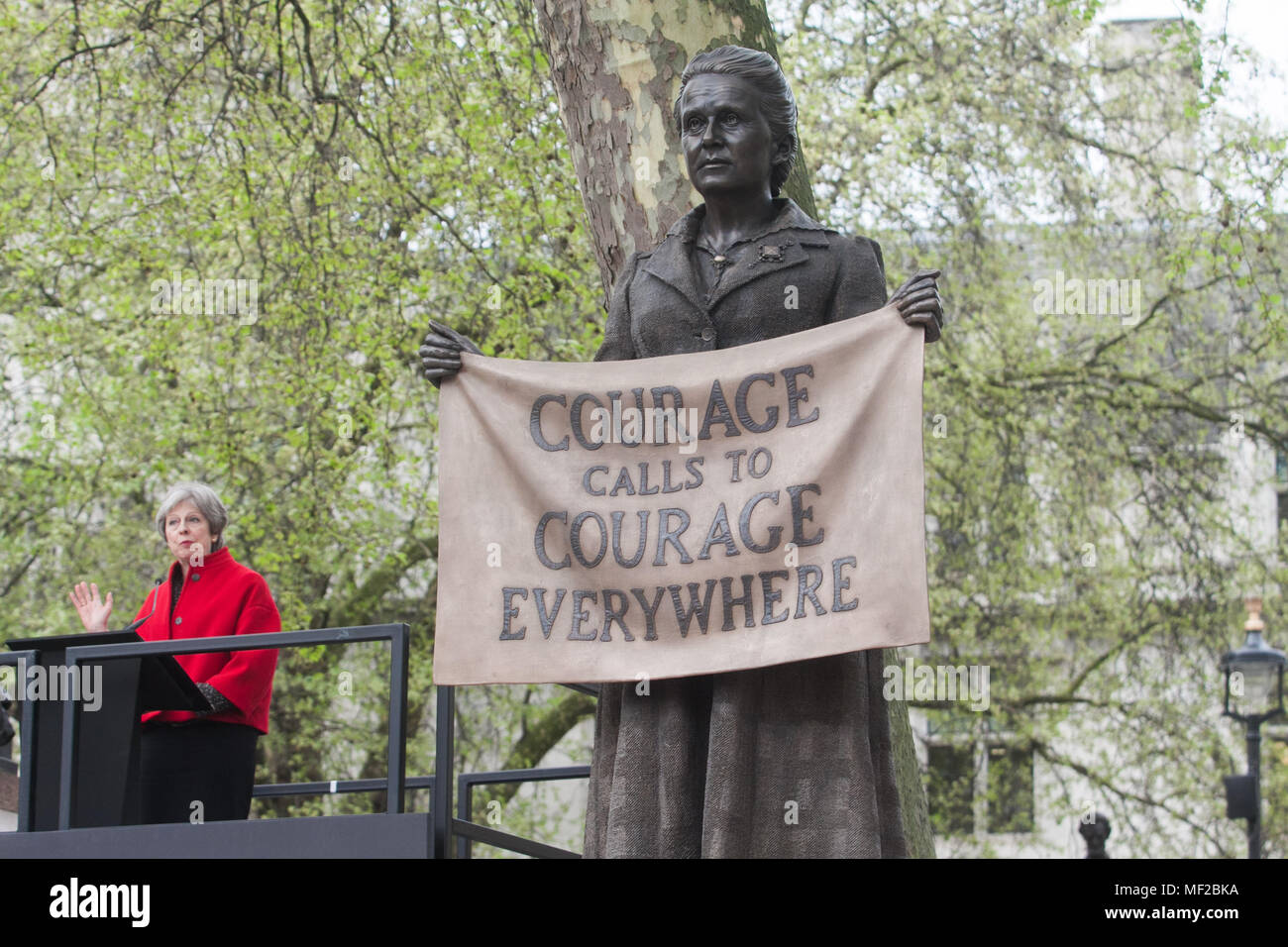 London UK. 24th April 2018. Prime Minister Theresa May attends the unveiling ceremony in Parliament Square for Suffragist  leader Millicent Fawcett who campaign for Women's rights Credit: amer ghazzal/Alamy Live News - Stock Image