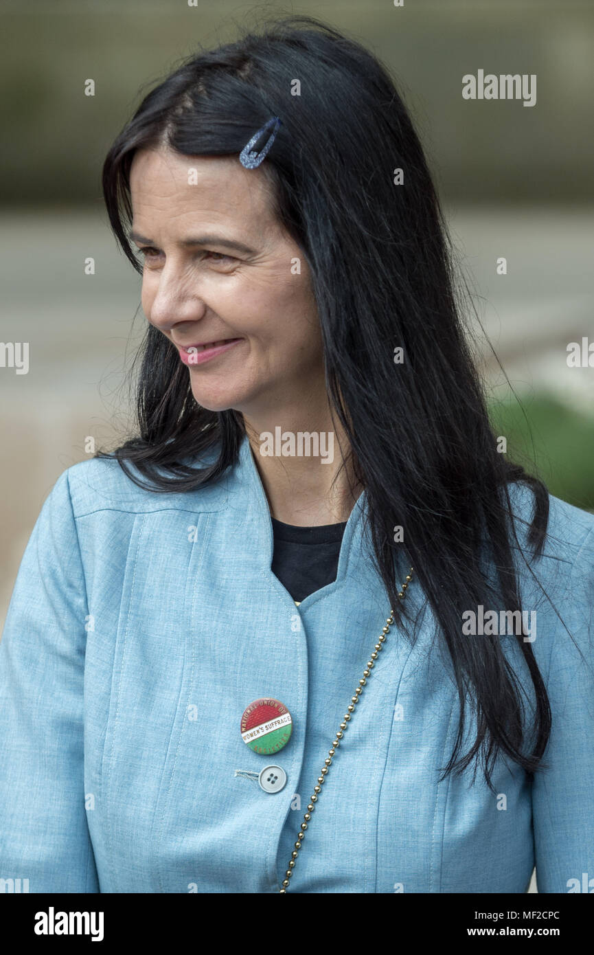 London, UK. 24th April, 2018. Gillian Wearing, statue designer, attends the unveiling ceremony of Millicent Fawcett in Parliament Square. The first statue of a woman in Parliament Square joins the line-up of male figures to mark the centenary of women's suffrage in Britain - two years after the campaign to get female representation outside the Palace of Westminster began. Credit: Guy Corbishley/Alamy Live News - Stock Image