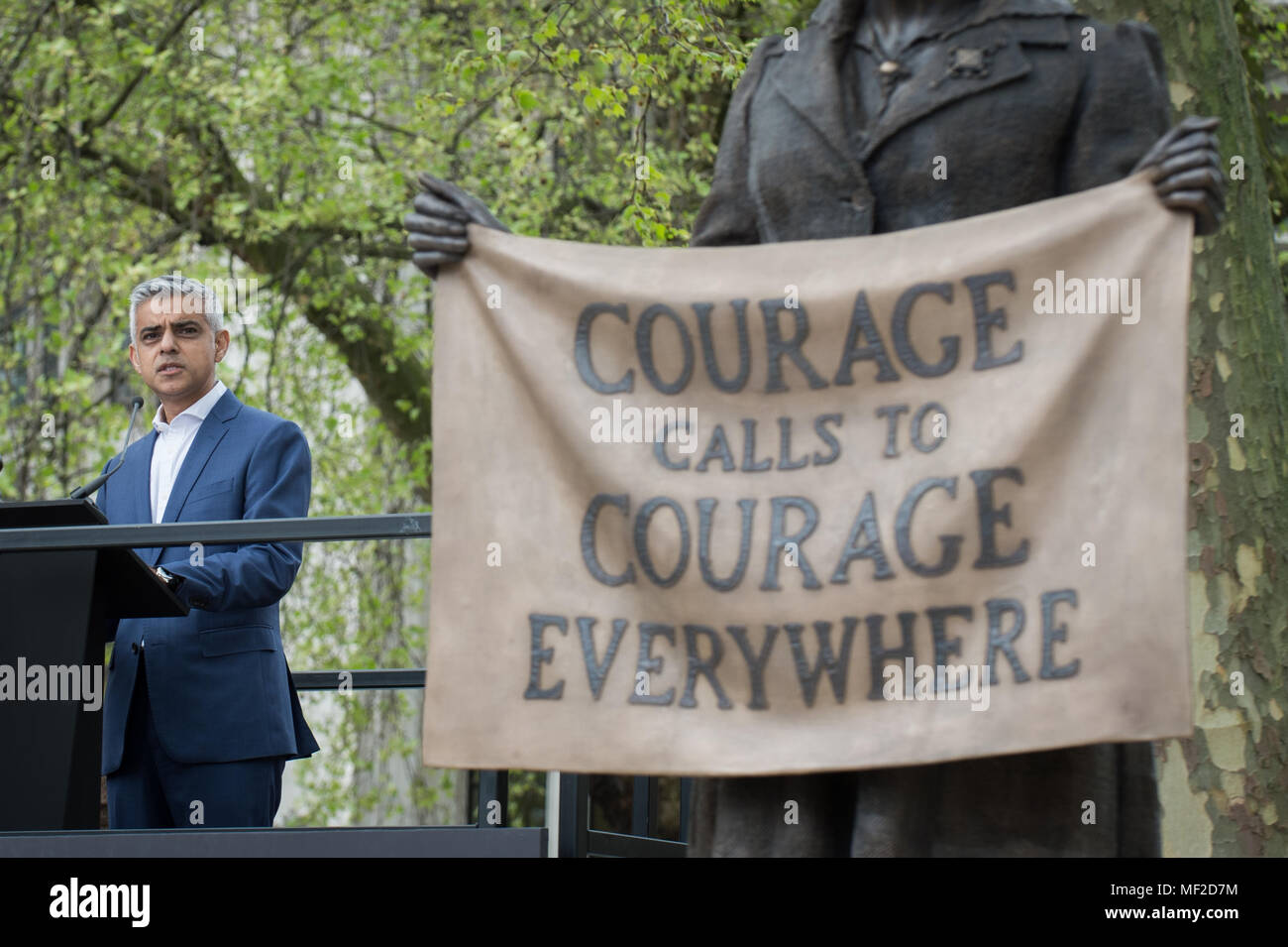 London, UK. 24th April, 2018. Mayor of London, Sadiq Khan, speaks during the unveiling ceremony of Millicent Fawcett in Parliament Square. The first statue of a woman in Parliament Square joins the line-up of male figures to mark the centenary of women's suffrage in Britain - two years after the campaign to get female representation outside the Palace of Westminster began. Credit: Guy Corbishley/Alamy Live News - Stock Image
