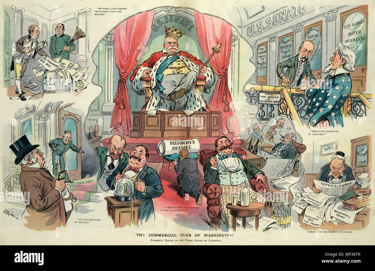 The commercial club of Washington -  Illustration shows Nelson Aldrich as king of the 'U.S. Senate' sitting on a throne with a diminutive Theodore Roosevelt kneeling before him bearing the 'President's Message', around them senators are reading ticker tape or enjoying the success of their investments. The surrounding vignettes show Chauncey M. Depew as a doorman welcoming a man labeled 'The Trusts' into the 'U.S. Senate', John D. Rockefeller sitting at a desk pouring over 'Reports' and 'Expenditures', Charles W. Fairbanks as an office boy stopping Uncle Sam at the top of the stairs demanding w - Stock Image
