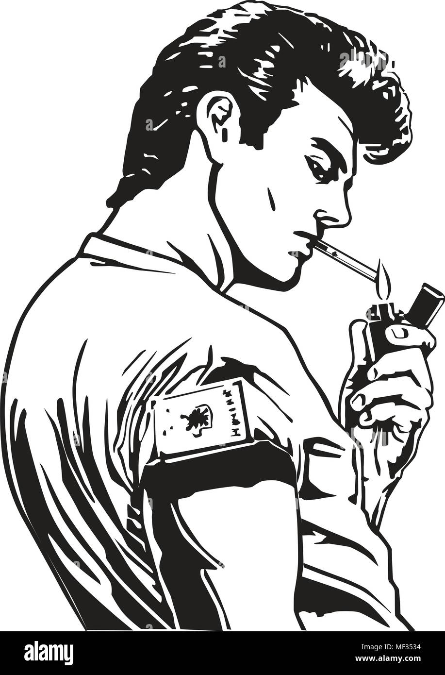 Greaser Lighting Cigarette - Retro Clipart Illustration - Stock Image