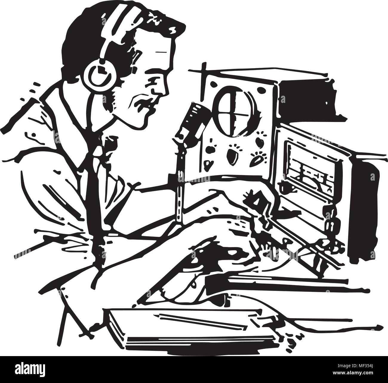 Ham Radio Operator - Retro Clipart Illustration Stock Vector