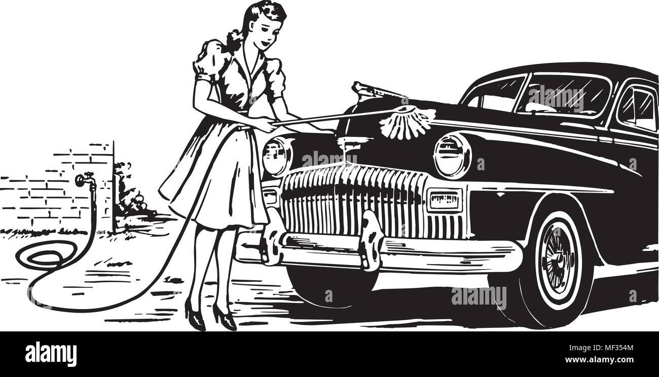 Hand Car Wash - Retro Ad Art Illustration - Stock Vector