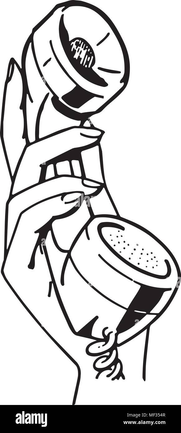 hand holding phone retro clipart illustration stock vector art Retro Appliances hand holding phone retro clipart illustration