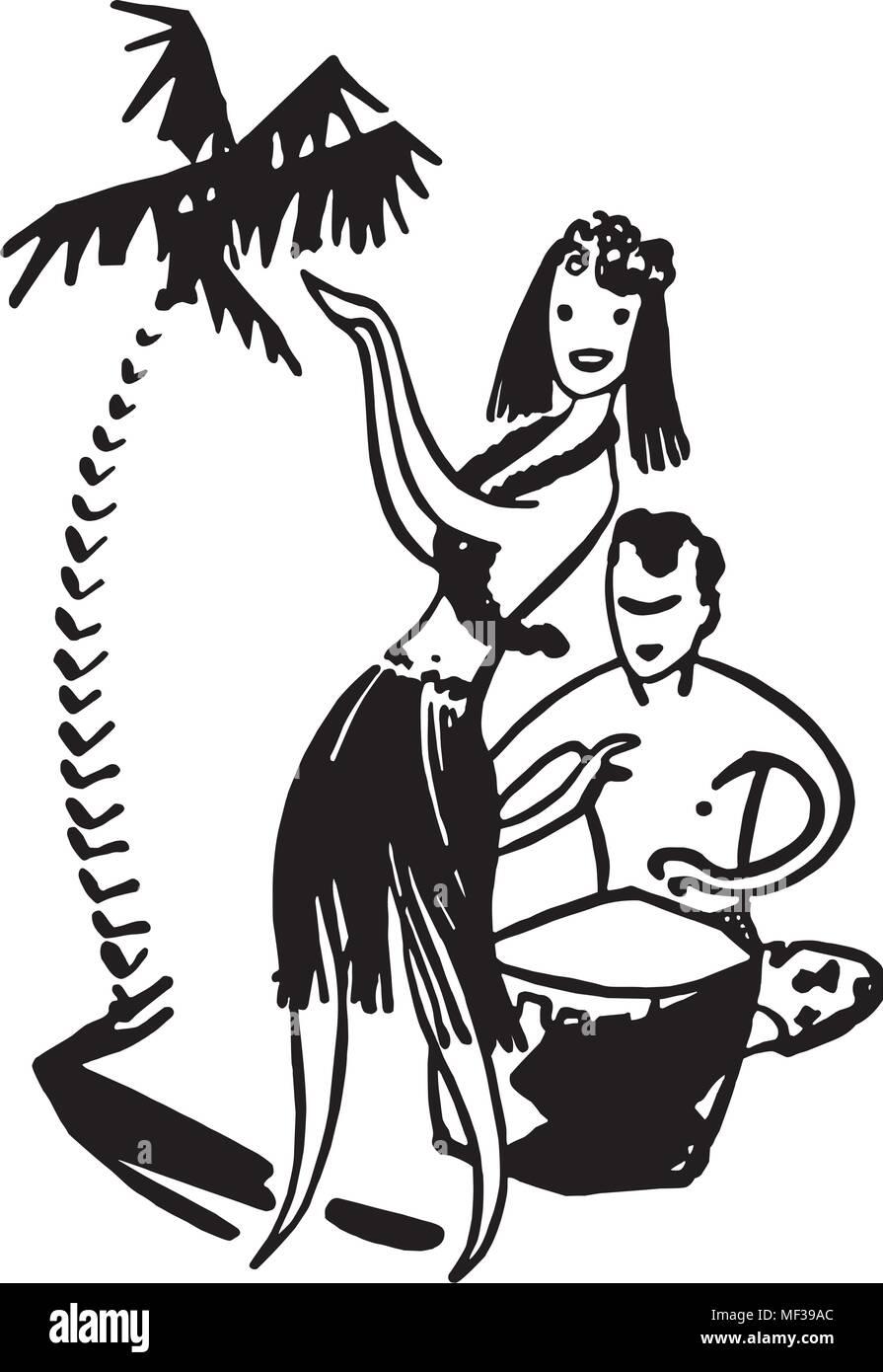 Hawaiian Couple - Retro Clipart Illustration - Stock Image