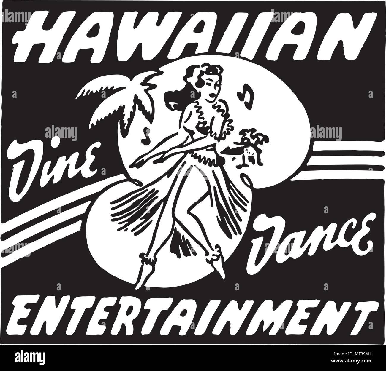 Hawaiian Entertainment - Retro Ad Art Banner - Stock Image