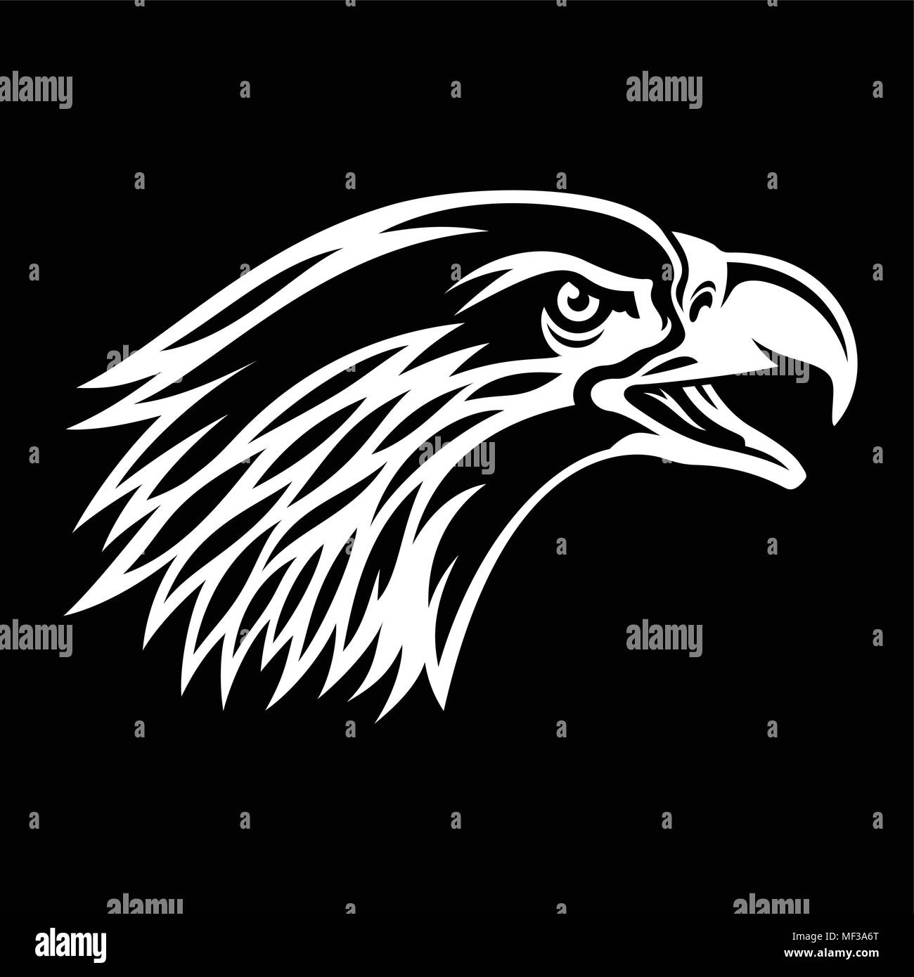 Bald Eagle silhouette isolated on black. This vector illustration can be used as a print on T-shirts, tattoo element or other uses - Stock Image
