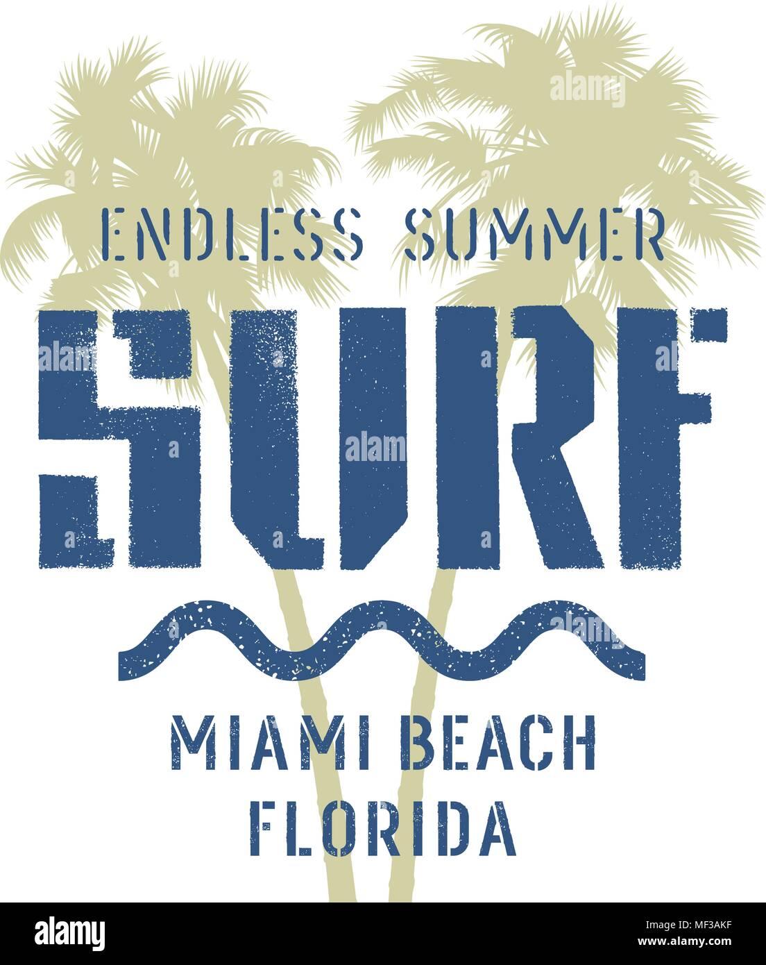b1c72ab7e4b Surfing artwork. Miami Beach Florida t-shirt apparel graphic design ...