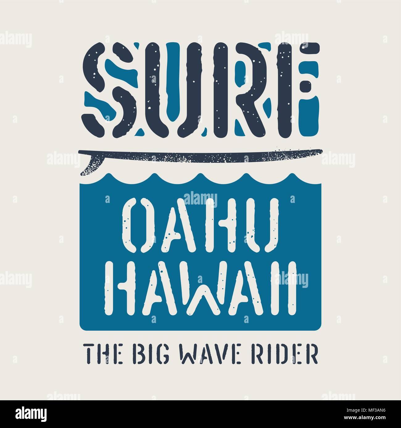 Surfing Artwork Surfing Hawaii T Shirt Design Vintage Graphic Tee