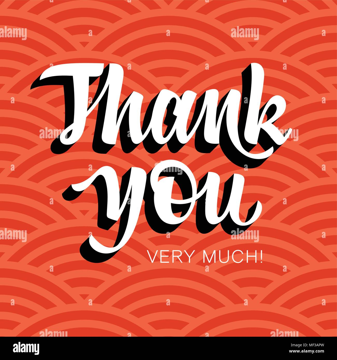 Thank You handwritten inscription. Hand drawn lettering. Thank You card with abstract geometric background. Vectors - Stock Vector