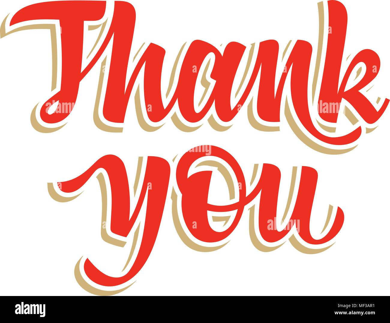 Thank You calligraphic inscription, hand drawn lettering. Thank You card. Vectors - Stock Vector
