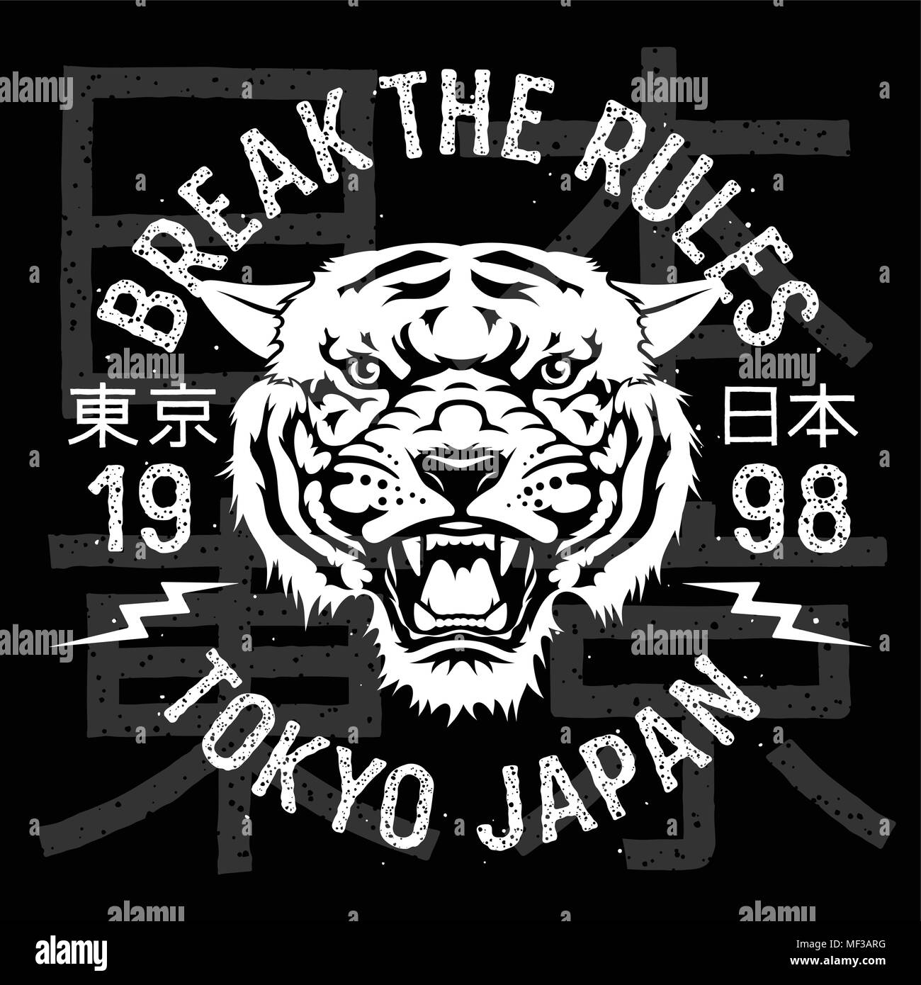 Tiger patch embroidery. Vector illustration. T-shirt print design. Tokyo Japan Tee graphics - Stock Image