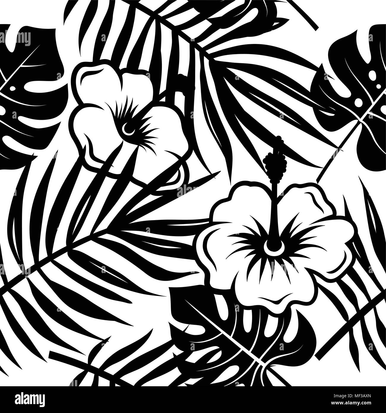 Seamless Pattern With Leaves Of Tropical Plants And Exotic Flowers