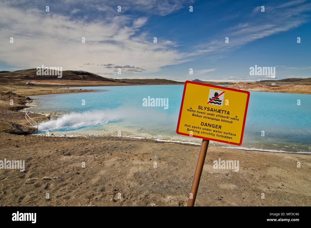 Iceland, Myvatn, artificial lake of Bjarnarflag Power Station, warning sign - Stock Image