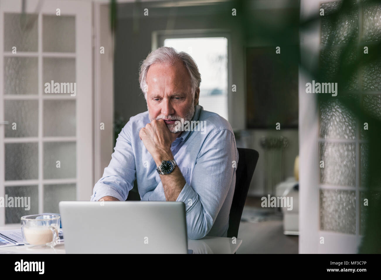 Portrait of mature man using laptop at home - Stock Image