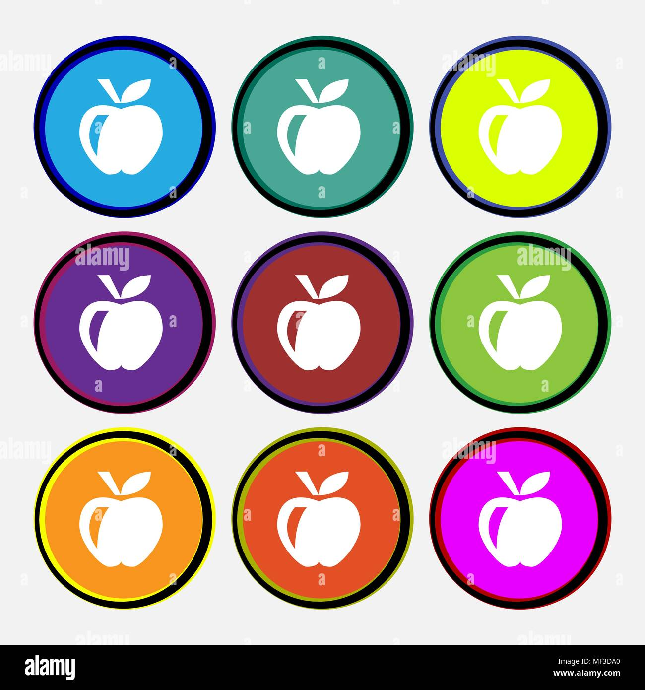 Apple  icon sign. Nine multi-colored round buttons. Vector illustration - Stock Vector