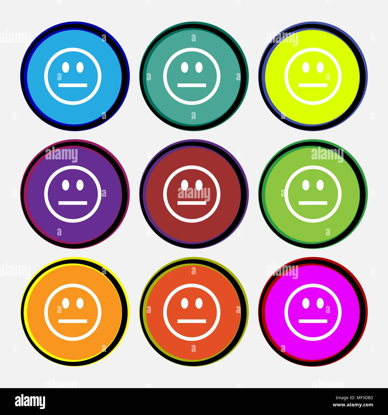 Sad face, Sadness depression  icon sign. Nine multi-colored round buttons. Vector illustration - Stock Vector