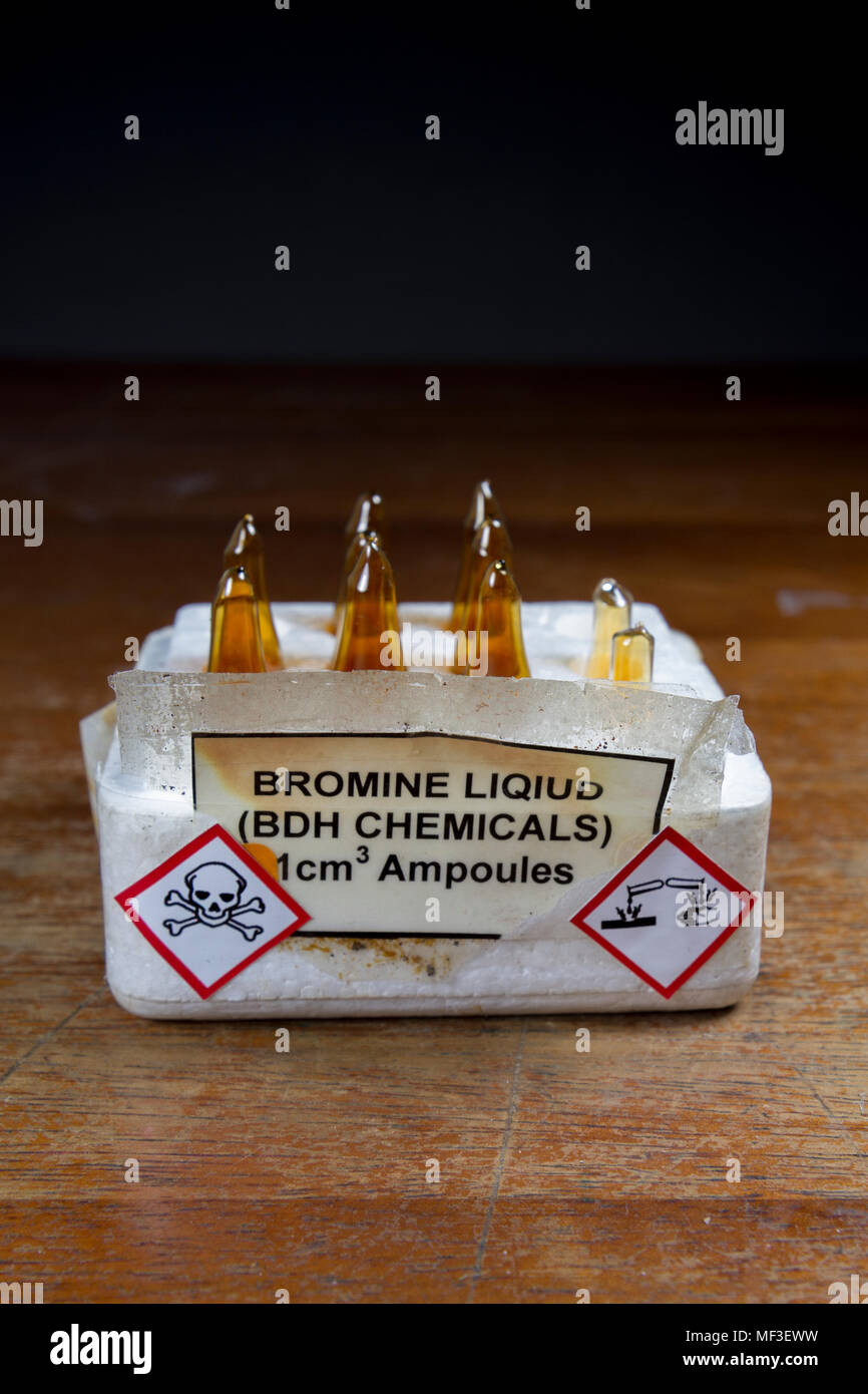 Ampoules (or vials) of liquid Bromine stored in a