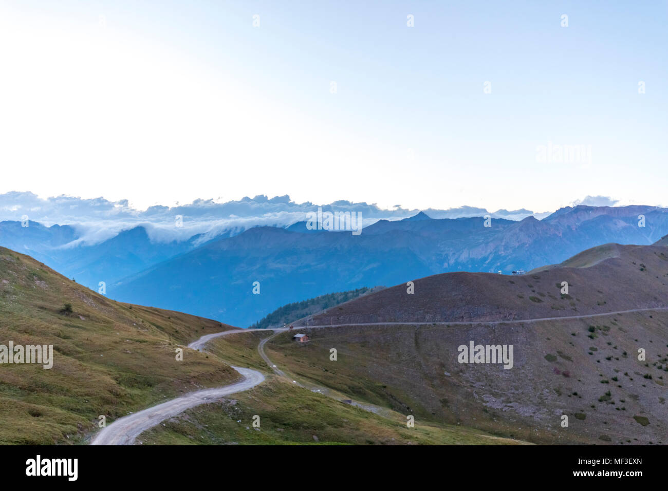 Italy, Piemont, West Alps, View from Colle Basset, Colle dell'Assietta, Cottian Alps Stock Photo
