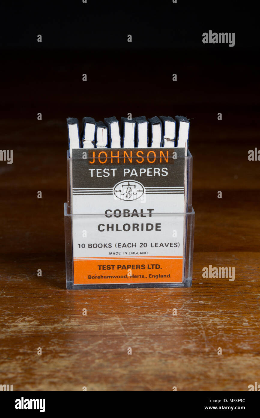 A container of Johnson cobalt chloride test papers as used in a UK secondary/high school. - Stock Image