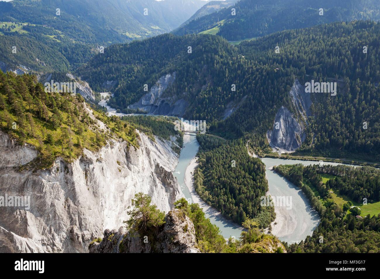 Switzerland, Grisons, Rhine river and Ruinaulta, Anterior Rhine - Stock Image