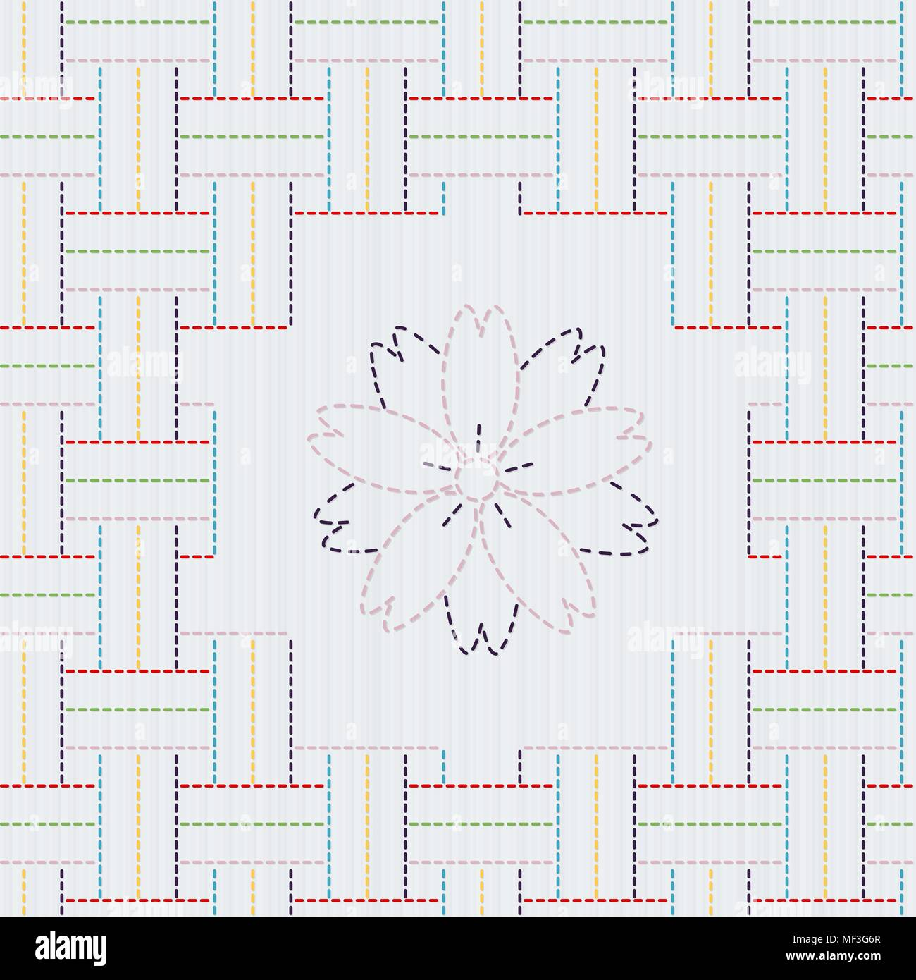 Traditional Japanese Embroidery Ornament with sakura flower. Colorful Sashiko motif - weaving. Abstract vector backdrop. Needlework texture. Can be us - Stock Vector