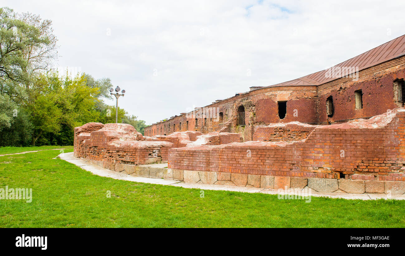 Walls of the Brest Fortress, Brest, Belarus. It is one of the Soviet World War II war monuments commemorating the Soviet resistance against the German - Stock Image