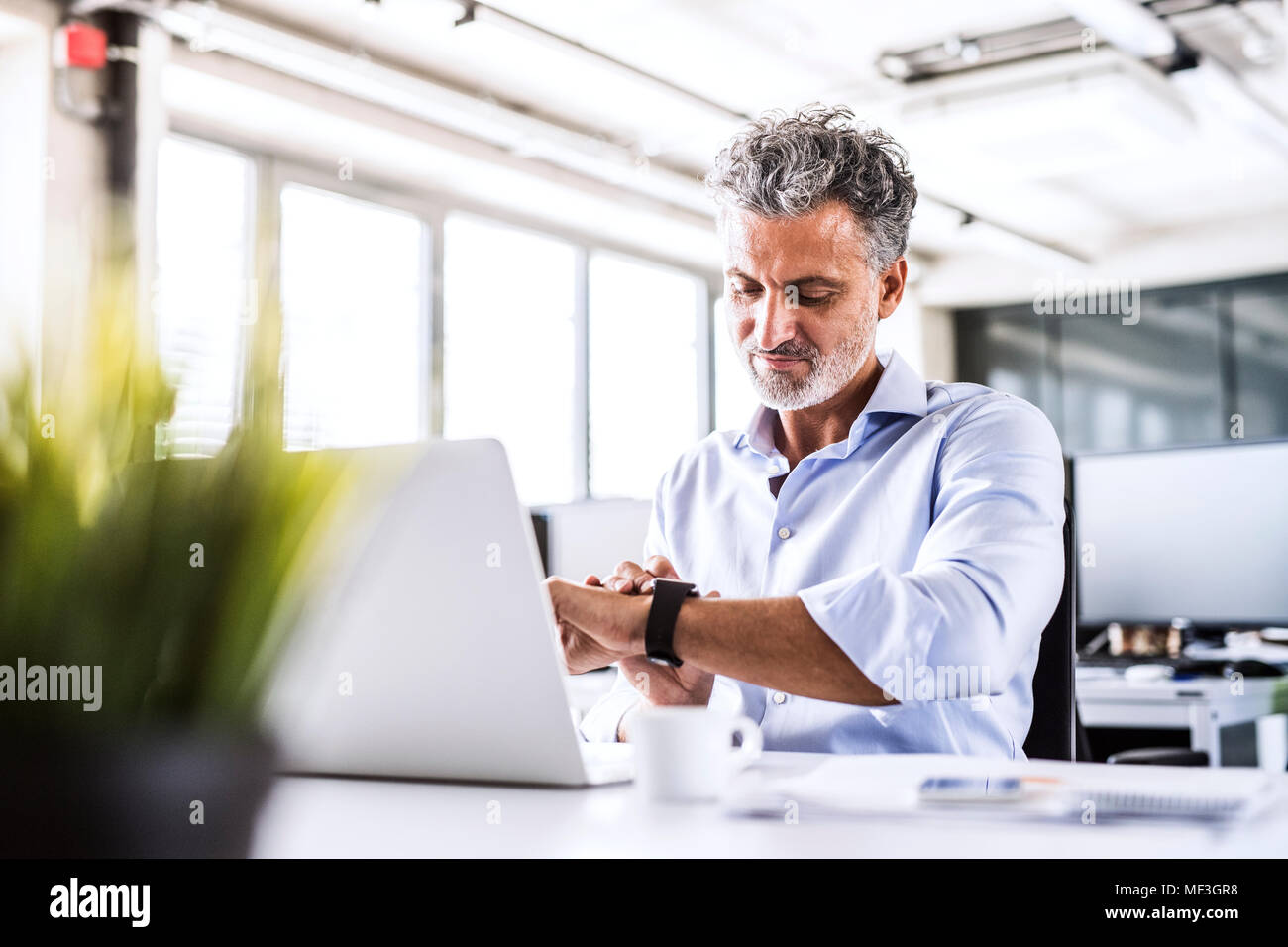 Mature businessman sitting at desk in office looking at smartwatch - Stock Image