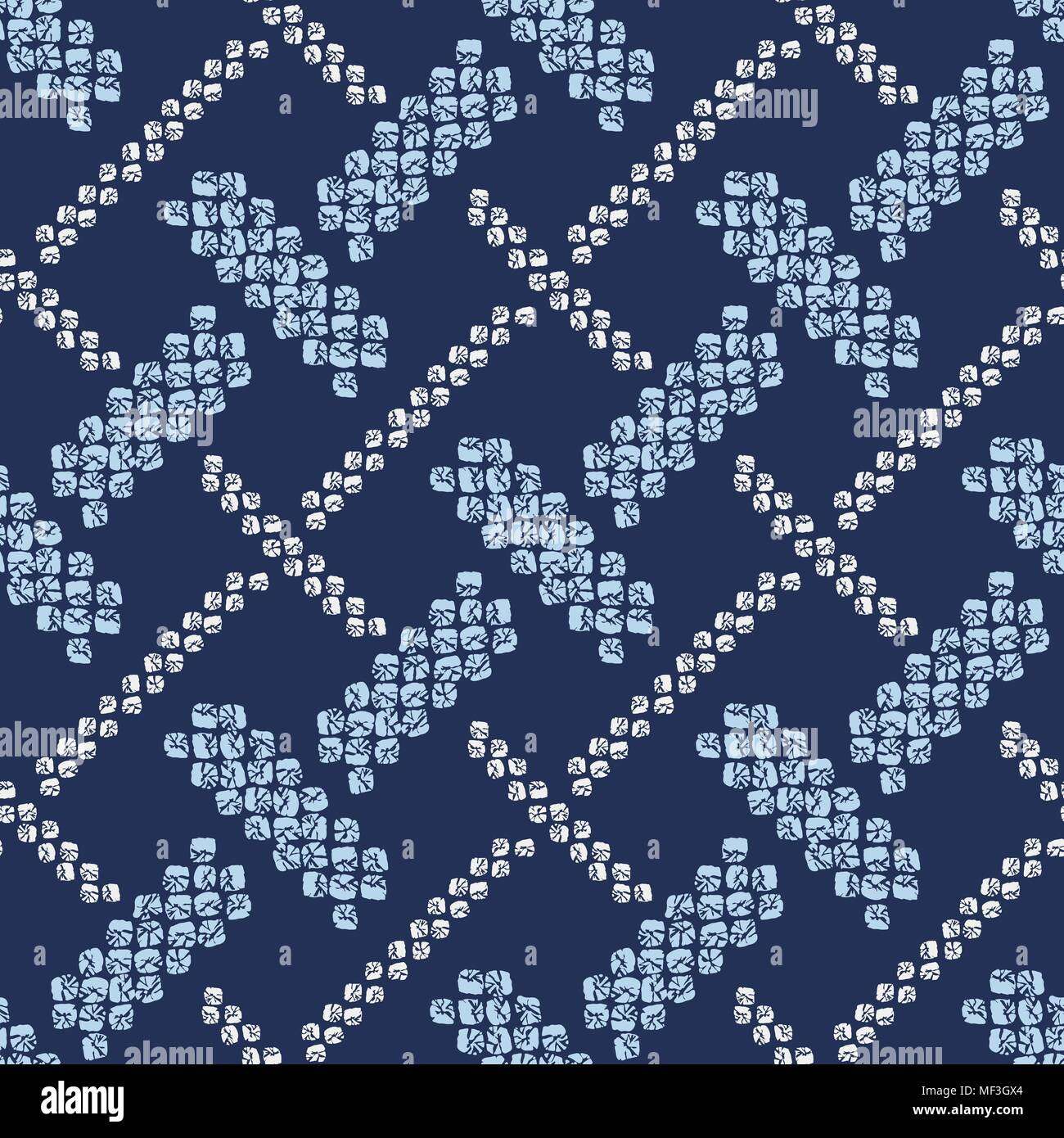 Shibori ornament. Weaving motif. Asian seamless pattern. Dark indigo background. Classic japanese dyeing technique. For wallpaper, web page background - Stock Vector