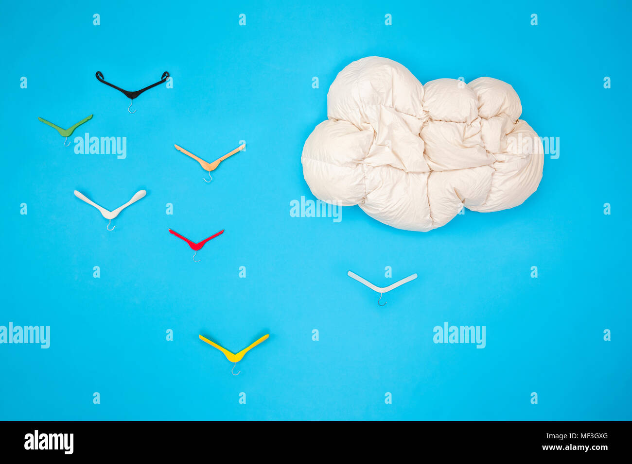Blanket cloud in the sky with clothes hanger birds Stock Photo