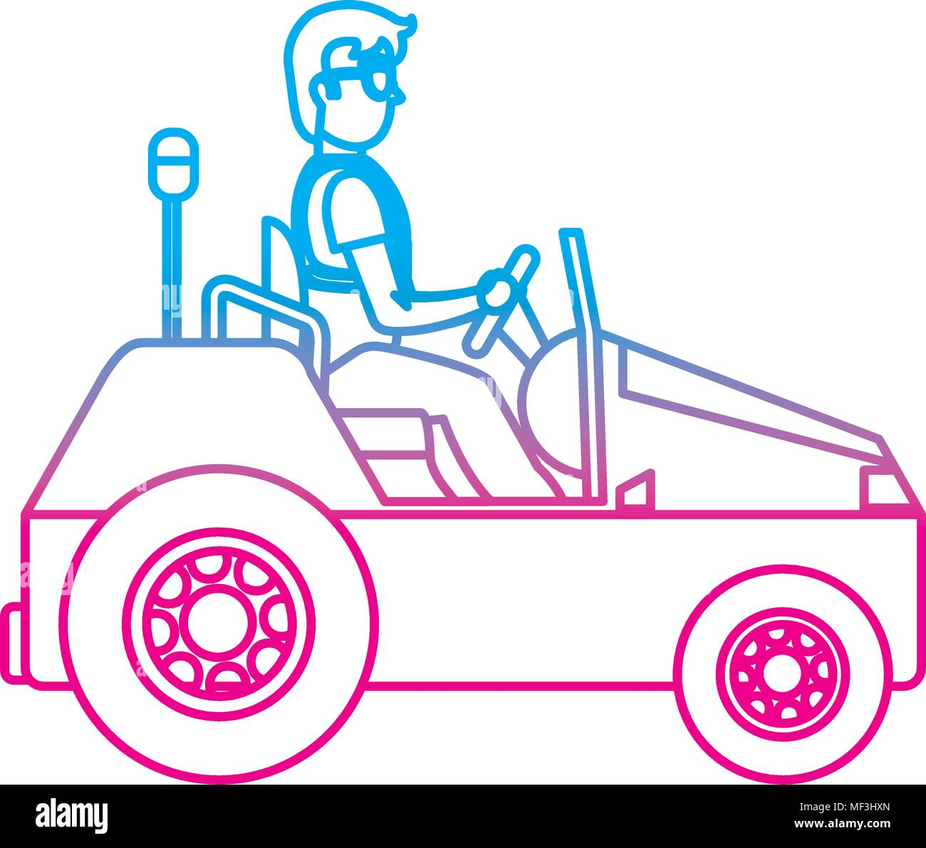 degraded line man with luggage towing vehicle service vector