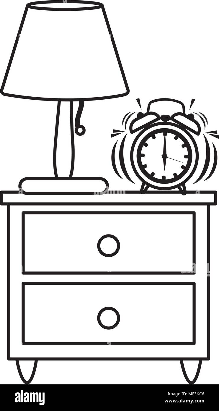 Picture of: Line Lamp And Clock Alarm In The Wood Bedside Table Vector Illustration Stock Vector Image Art Alamy