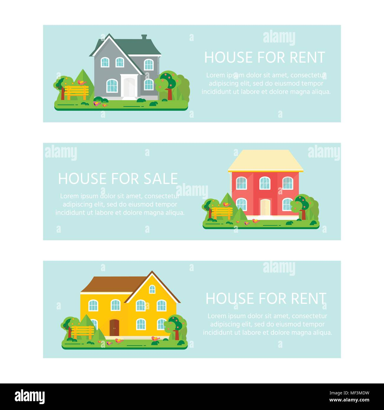 Banner For Sales Advertising House Cottage With Trees Offer Of Home Purchase Rental Of Real Estate Vector Flat Design Urban Landscape Stock Vector Image Art Alamy