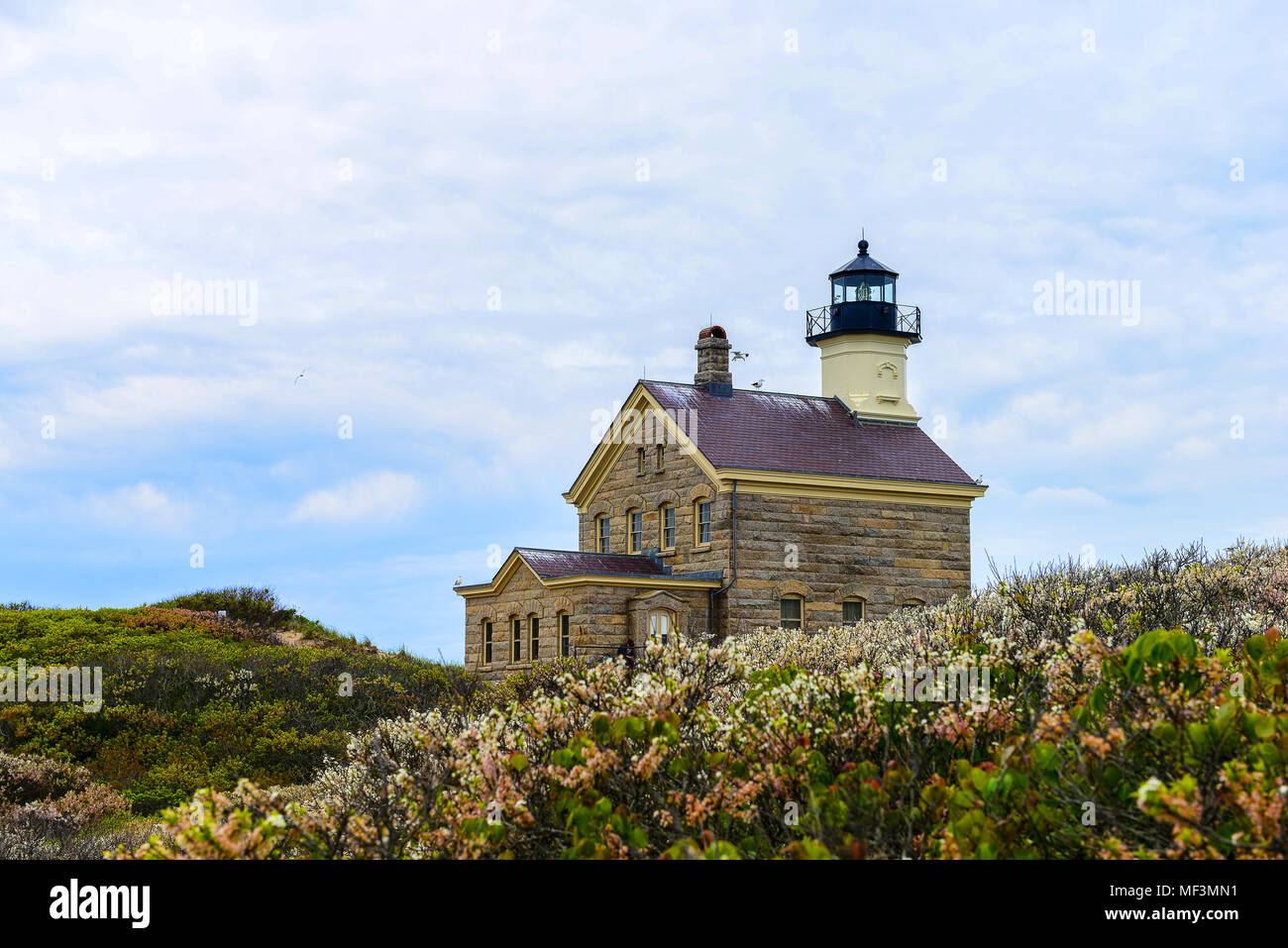 North Lighthouse on Block Island Rhode Island - Stock Image
