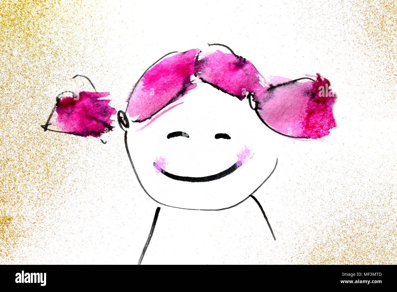 Drawing Of A Girl S Face Stock Photo 181405741 Alamy