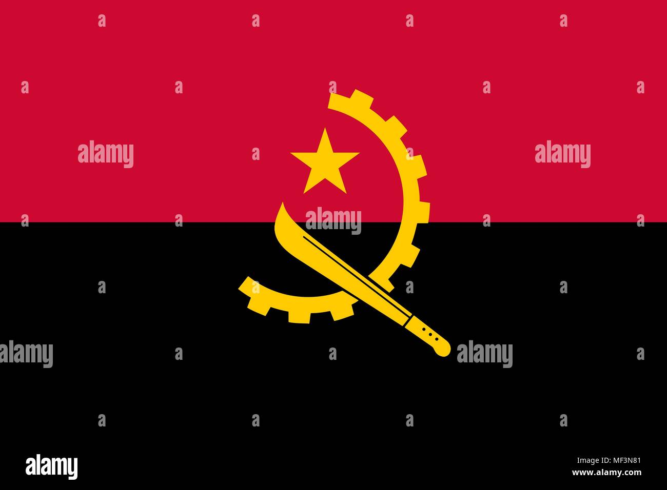 Flag of Angola official colors and proportions, vector image - Stock Vector