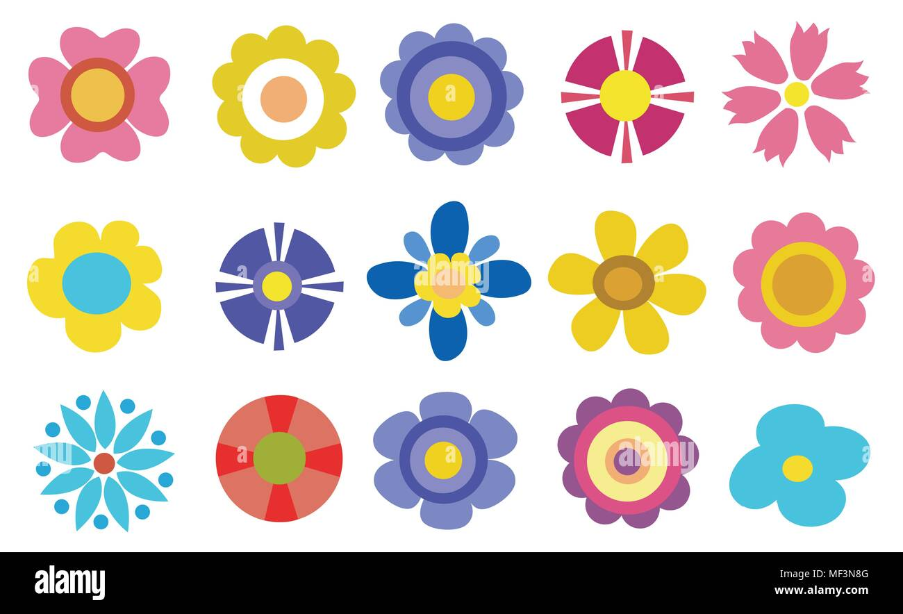 Colorful Spring Flowers Vector Illustration Stock Vector Art
