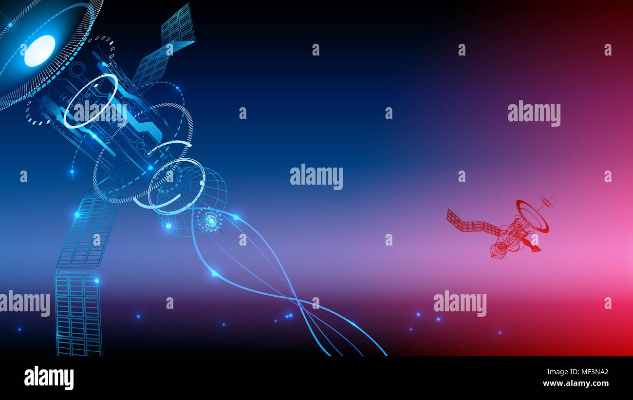 Communication technology. Wireframe background. The satellite transmits the signal from space to earth. technological abstraction. VECTOR - Stock Image