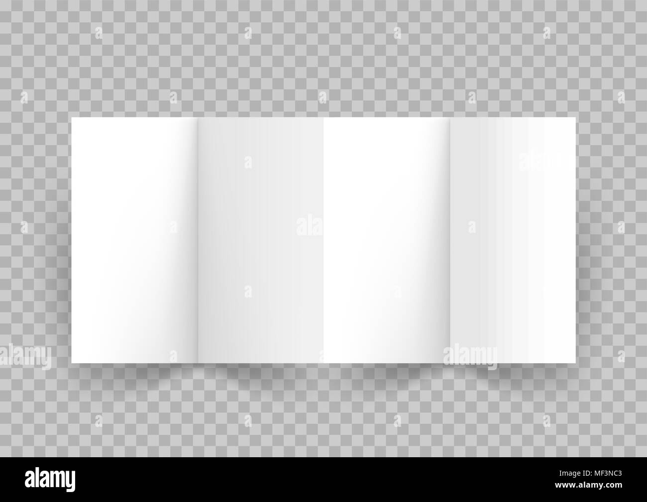 White paper booklet leaflet or brochure of four paper sheets with shadow on transparent background. Corporate advertising design. Presentation cover e - Stock Photo