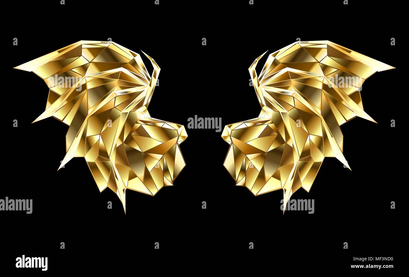 Gold, faceted, polygonal dragon wings on black background. - Stock Vector