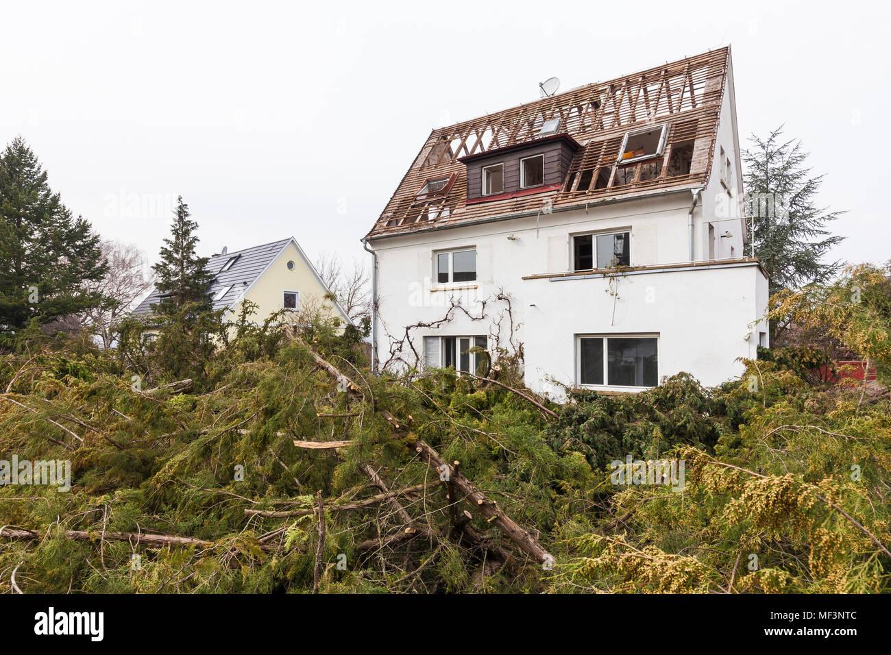 Germany, Stuttgart, demolition of a detached house Stock Photo